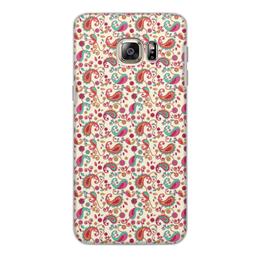 """Чехол для Samsung Galaxy S6, объёмная печать """"Пейсли (Яркий)"""" - узор, пейсли, лепесток, цветы, завитки"""