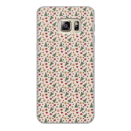 """Чехол для Samsung Galaxy S6, объёмная печать """"Праздник"""" - сердце, звезды, снег, игрушки, елки"""
