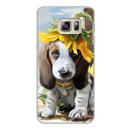 """Чехол для Samsung Galaxy S6, объёмная печать """"Собака"""" - цветок, собака, животное"""
