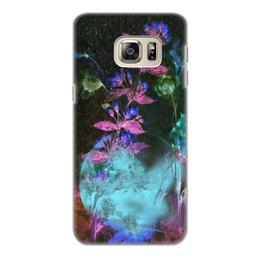 """Чехол для Samsung Galaxy S6, объёмная печать """"Светящиеся цветы. Ночь"""" - цветок, оригинальный, акварель, нежный, фантазийный"""