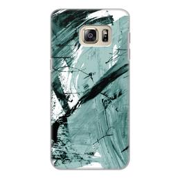 """Чехол для Samsung Galaxy S6, объёмная печать """"волна"""" - голубой, волна, краски, хаос"""