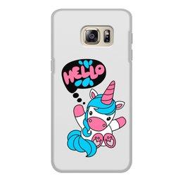 """Чехол для Samsung Galaxy S6, объёмная печать """"Unicorn"""" - привет, надпись, голубой, розовый, единорог"""