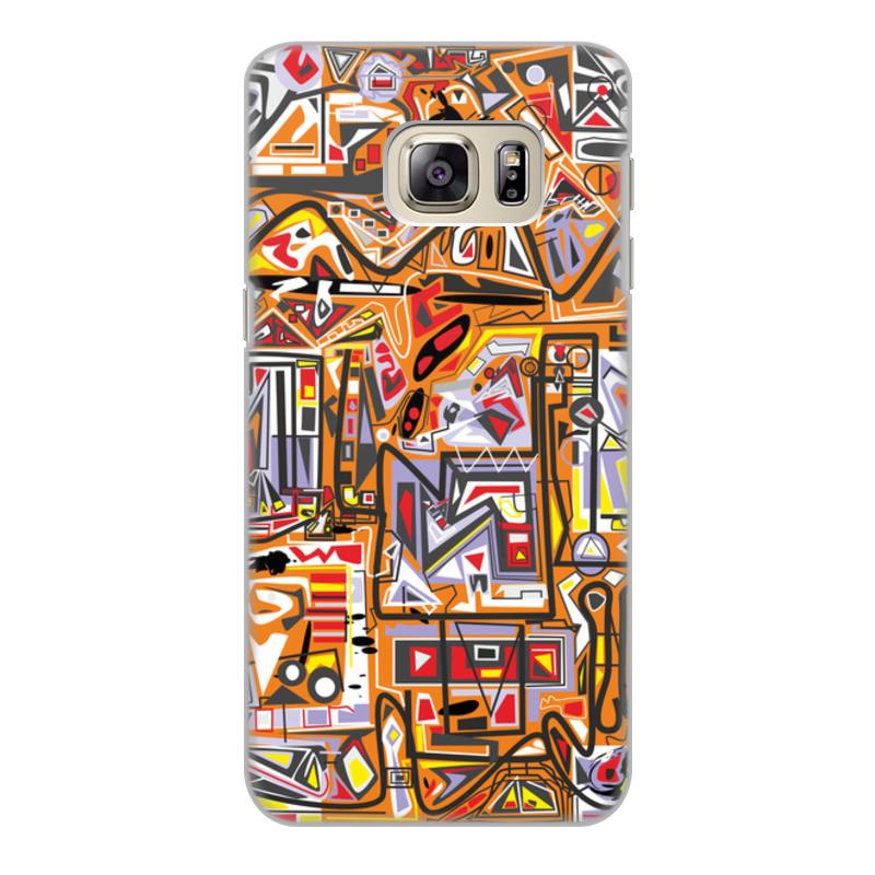 Чехол для Samsung Galaxy S6 Edge, объёмная печать Printio Оранжевый дом. браун роуз дизайн кожа pu откидная крышка бумажника карты держатель чехол для samsung s6