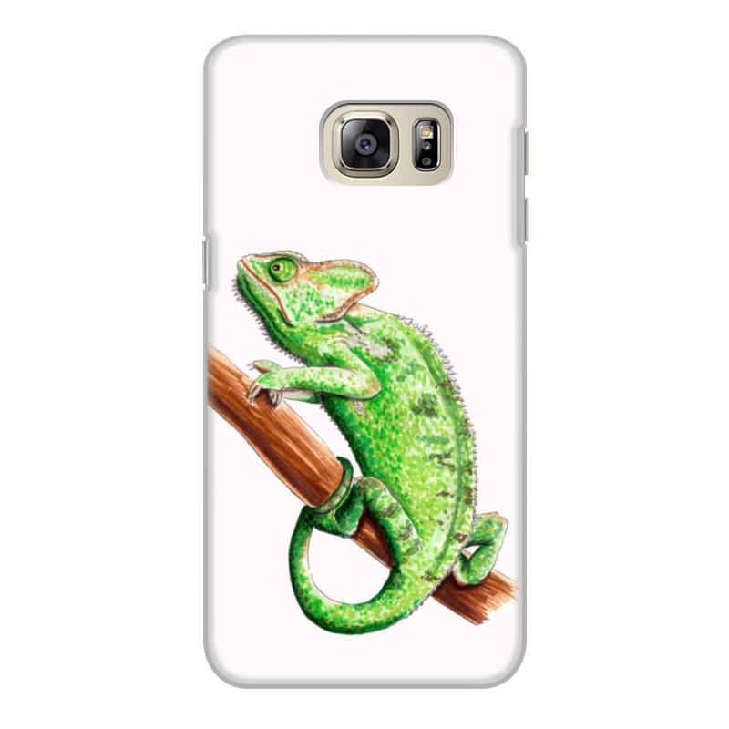 Чехол для Samsung Galaxy S6 Edge, объёмная печать Printio Зеленый хамелеон на ветке чехол для карточек хамелеон с узорами дк2017 111