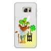 """Чехол для Samsung Galaxy S6 Edge, объёмная печать """"Лепрекон с фонарем и волшебный клевер"""" - клевер, фонарь, день святого патрика, карлик, четырехлистник"""