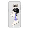 """Чехол для Samsung Galaxy S6 Edge, объёмная печать """"Девушка в синих сережках"""" - очки, брюнетка, перья, красивая женщина, синие длинные серьги"""