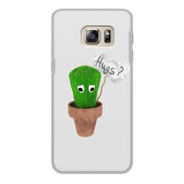 """Чехол для Samsung Galaxy S6 Edge, объёмная печать """"Hugs?"""" - обнимашки, колючий, грустный, кактус, hugs"""