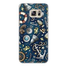 """Чехол для Samsung Galaxy S6 Edge, объёмная печать """"Моряк"""" - море, якорь, волны, штурвал, компас"""