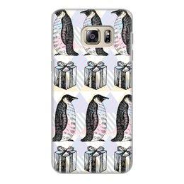 """Чехол для Samsung Galaxy S6 Edge, объёмная печать """"пингвины"""" - новый год, пингвины, зима, птицы, подарки"""