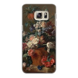 "Чехол для Samsung Galaxy S6 Edge, объёмная печать ""Ваза с цветами (Ян ван Хёйсум)"" - цветы, живопись, натюрморт, ян ван хёйсум"