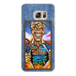 "Чехол для Samsung Galaxy S6 Edge, объёмная печать ""Iron Maiden patch"" - heavy metal, рок музыка, рок группа, iron maiden, eddie"