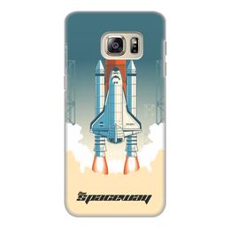 """Чехол для Samsung Galaxy S6 Edge, объёмная печать """"Покорение космоса"""" - космос, ракета, астрономия, шатл, thespaceway"""