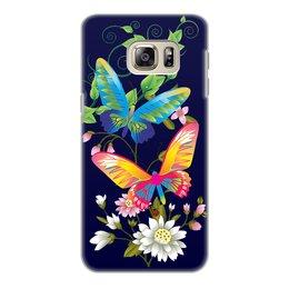 """Чехол для Samsung Galaxy S6 Edge, объёмная печать """"БАБОЧКИ ФЭНТЕЗИ"""" - бабочки, стиль, красота, яркость, цветочный узор"""