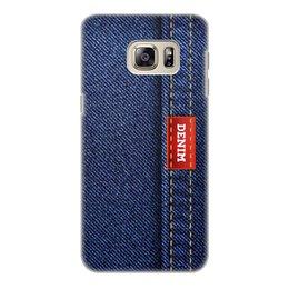 """Чехол для Samsung Galaxy S6 Edge, объёмная печать """"Джинсовый арт"""" - абстракция, джинсы, ткань, jeans, denim"""