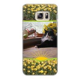 """Чехол для Samsung Galaxy S6 Edge, объёмная печать """"Мистер кот."""" - кот, котэ, котик, тюльпаны, подсолнух"""