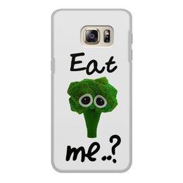 """Чехол для Samsung Galaxy S6 Edge, объёмная печать """"Eat me..?"""" - еда, sad, мимими, брокколи, broccoli"""