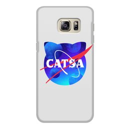 "Чехол для Samsung Galaxy S6 Edge, объёмная печать ""catsa"" - cat, космос, nasa, наса, catsa"