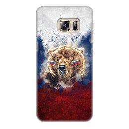 """Чехол для Samsung Galaxy S6 Edge, объёмная печать """"Русский Медведь"""" - флаг, триколор, россия, футбол, медведь"""
