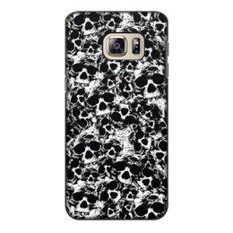 """Чехол для Samsung Galaxy S6 Edge, объёмная печать """"Камуфляж """"Черепа"""""""" - череп, узор, черепа, черно-белое, камуфляж"""