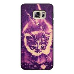 """Чехол для Samsung Galaxy S6 Edge, объёмная печать """"Fire cat"""" - девушка, огонь, ночь, интересный, необычный"""