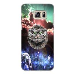"""Чехол для Samsung Galaxy S6 Edge, объёмная печать """"Кот в космосе"""" - кот, звезды, котенок, космос, коты в космосе"""