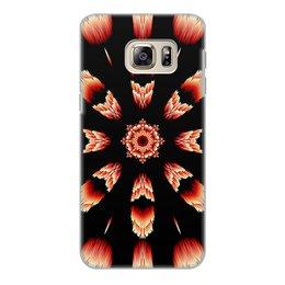 """Чехол для Samsung Galaxy S6 Edge, объёмная печать """"Костер"""" - огонь, подарок, абстракция, мандала, красное на черном"""