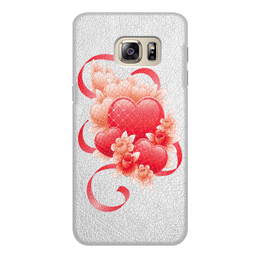 """Чехол для Samsung Galaxy S6 Edge, объёмная печать """"Любимой на 14 февраля"""" - цветы, 14фев"""