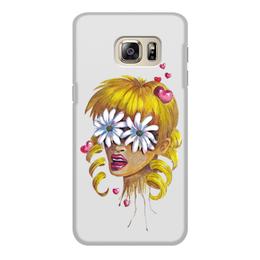 """Чехол для Samsung Galaxy S6 Edge, объёмная печать """"Без ума от цветов"""" - любовь, девушка, цветы, сердца, блондинка"""