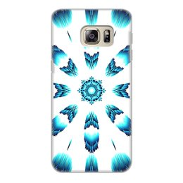 """Чехол для Samsung Galaxy S6 Edge, объёмная печать """"Костер Альт"""" - синий, подарок, абстракция, мандала"""