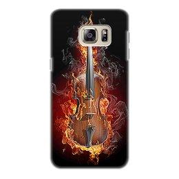 """Чехол для Samsung Galaxy S6 Edge, объёмная печать """"МУЗЫКА ФЭНТЕЗИ"""" - огонь, скрипка, красота, яркость, стиль"""
