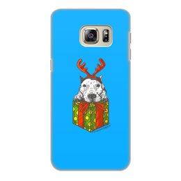 """Чехол для Samsung Galaxy S6 Edge, объёмная печать """"новый год"""" - новый год, зима, собака, подарок, год собаки"""