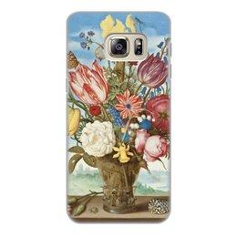 """Чехол для Samsung Galaxy S6 Edge, объёмная печать """"Букет цветов на полке (Амброзиус Босхарт)"""" - цветы, картина, живопись, натюрморт, босхарт"""