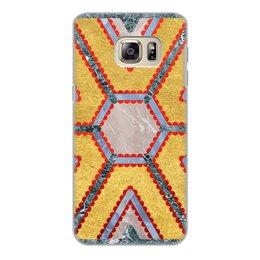 """Чехол для Samsung Galaxy S6 Edge, объёмная печать """"Мандала Изобилия (Золото и Мрамор)"""" - узор, орнамент, богатство, премиум, плодородие"""