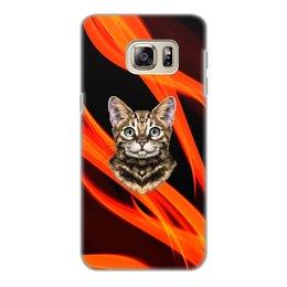 """Чехол для Samsung Galaxy S6 Edge, объёмная печать """"Без названия"""" - кот, животные, котенок, огонь, пламя"""