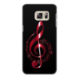 """Чехол для Samsung Galaxy S6 Edge, объёмная печать """"МУЗЫКА"""" - скрипичный ключ, нотный знак, стиль эксклюзив креатив красота яркость, арт фэнтези"""
