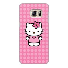 "Чехол для Samsung Galaxy S6 Edge, объёмная печать ""Kitty в горошек"" - мультик, hello kitty, мультфильм, для детей, привет китти"