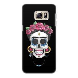 """Чехол для Samsung Galaxy S6 Edge, объёмная печать """"Фрида"""" - череп, цветы, яркий, розы, фрида"""