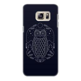 """Чехол для Samsung Galaxy S6 Edge, объёмная печать """"Ночной страж"""" - ночь, сова, геометрия, минимализм, страж"""