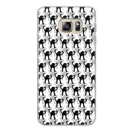 """Чехол для Samsung Galaxy S6 Edge, объёмная печать """"ЪУЪ ЪУЪ"""" - мемы, черный кот, cursed cat, мем с котом, ъуъ съука"""