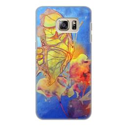 """Чехол для Samsung Galaxy S6 Edge, объёмная печать """"Бабочка,цветок. Аппликация"""" - желтый, природа, оригинальный, фантазия, нежный"""
