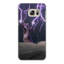 """Чехол для Samsung Galaxy S6 Edge, объёмная печать """"Кот Тесла"""" - мем, гроза, cat, котик, молния"""
