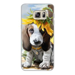 "Чехол для Samsung Galaxy S6 Edge, объёмная печать ""Собака"" - цветок, собака, животное"