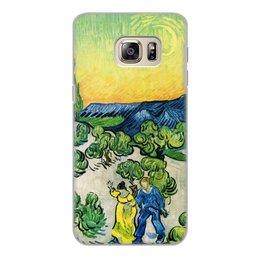 """Чехол для Samsung Galaxy S6 Edge, объёмная печать """"Пейзаж с прогуливающейся парой и полумесяцем"""" - картина, ван гог"""