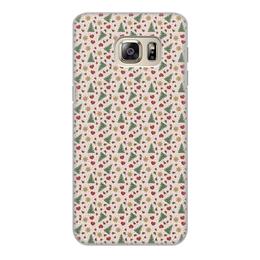 """Чехол для Samsung Galaxy S6 Edge, объёмная печать """"Праздник"""" - сердце, звезды, снег, игрушки, елки"""