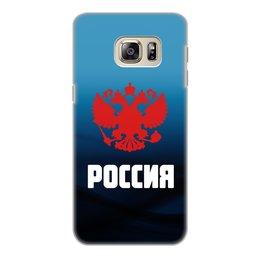 "Чехол для Samsung Galaxy S6 Edge, объёмная печать ""Россия"" - россия, герб, russia, орел, флаг"