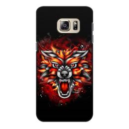 "Чехол для Samsung Galaxy S6 Edge, объёмная печать ""Wolf & Fire"" - огонь, волк, fire, дым, wolf"