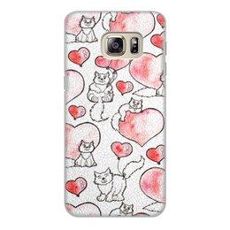 """Чехол для Samsung Galaxy S6 Edge, объёмная печать """"Котики"""" - кот, котенок, сердечки"""