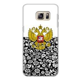 """Чехол для Samsung Galaxy S6 Edge, объёмная печать """"Цветы и герб"""" - цветы, россия, герб, орел, хохлома"""