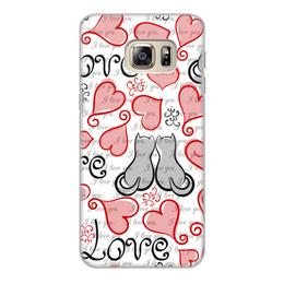 """Чехол для Samsung Galaxy S6 Edge, объёмная печать """"День Св. Валентина"""" - день св валентина, сердце, любовь, коты"""