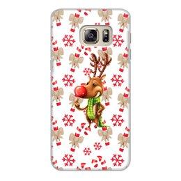 """Чехол для Samsung Galaxy S6 Edge, объёмная печать """"новый год"""" - новый год, зима, подарки, снежинки, олень"""